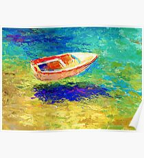 Impressionistic Sunlit Boat seascape painting Svetlana Novikova Poster
