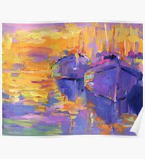 Boats in a sunset impressionistic painting Svetlana Novikova Poster
