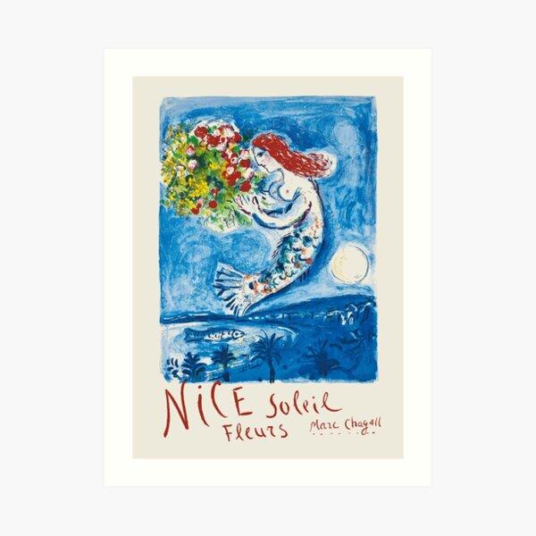 Nice - Affiche de voyage vintage française par Marc Chagall Impression artistique