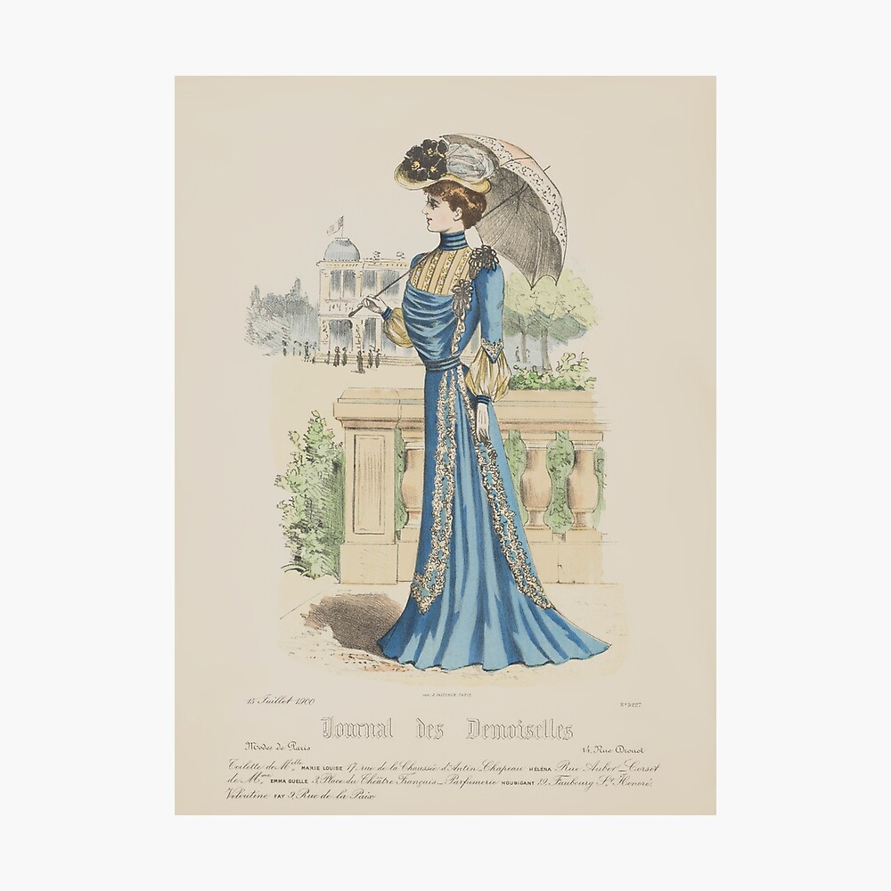 French Victorian Blue Dress From A 1900 Paris Fashion Magazine Poster By Vintage Tm Redbubble