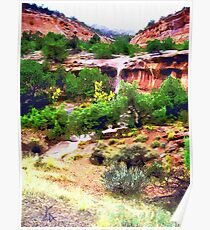 Canyon Run Off Landscape Oil Poster