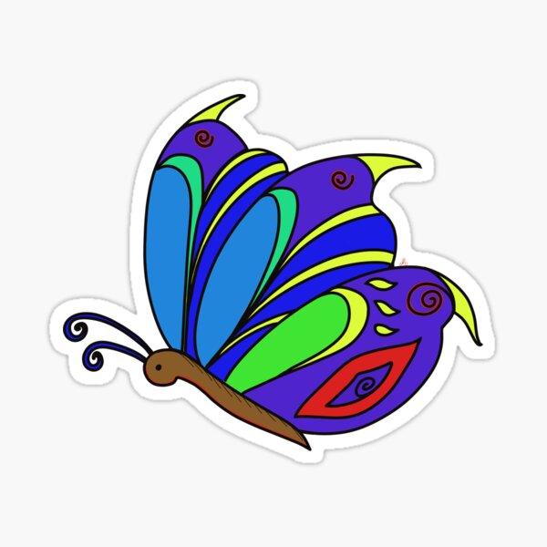 Papillon, insecte décoratif, dessin coloré Sticker