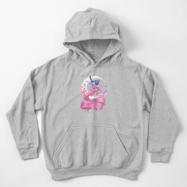 Pink Snake and Bird Kids Pullover Hoodie