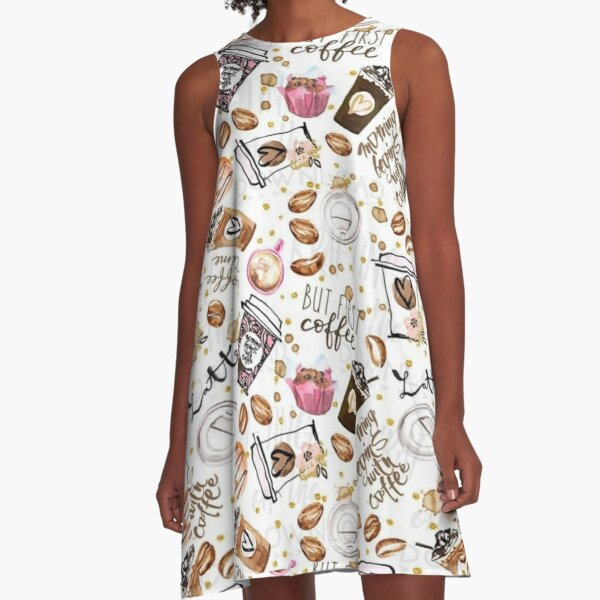 but frsp coffee, vith coffe, berpins moming coffe , latte,coffee makers A-Line Dress