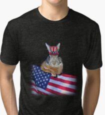 Patriotic Bunny Rabbit Tri-blend T-Shirt