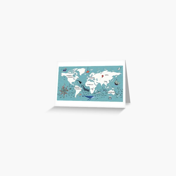 Illustrated Map of the World Greeting Card
