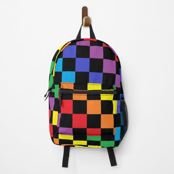 Checkered Rainbow Black  Backpack