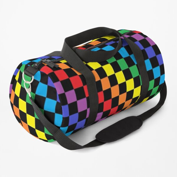 Checkered Rainbow Black  Duffle Bag