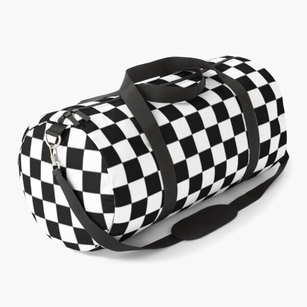 Checkered Black and White Duffle Bag