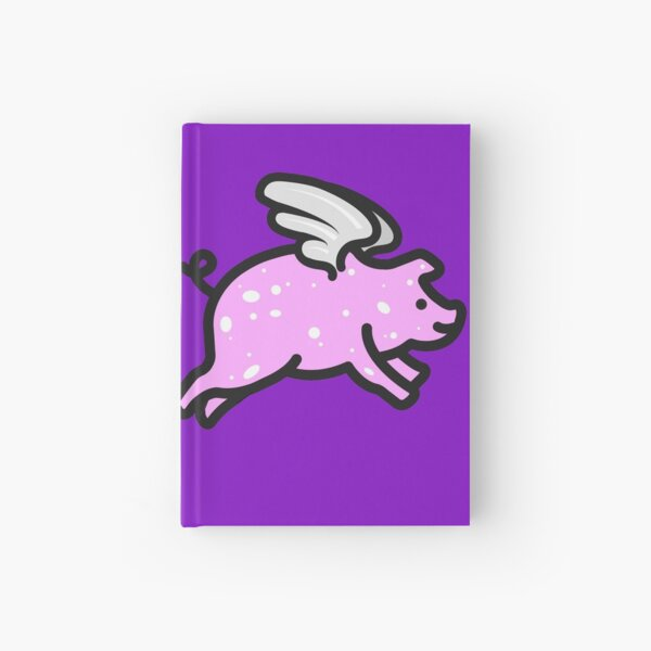 Pig Flying Solo Purple Hardcover Journal