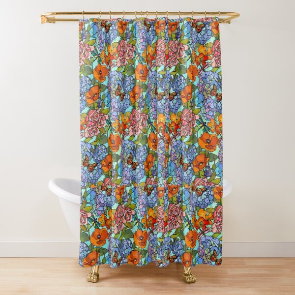 Stained Glass Floral Collage Shower Curtain