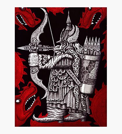 Dragon Fighter surreal pen ink drawing  Photographic Print