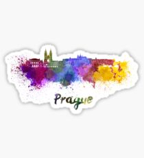 Prague skyline in watercolor Sticker