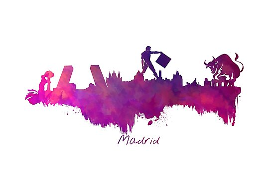 Madrid skyline city purple by JBJart