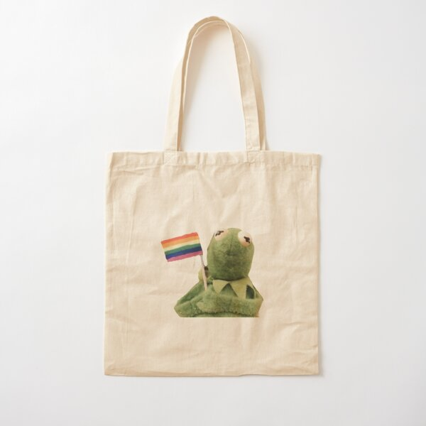 pride flag kermit Cotton Tote Bag
