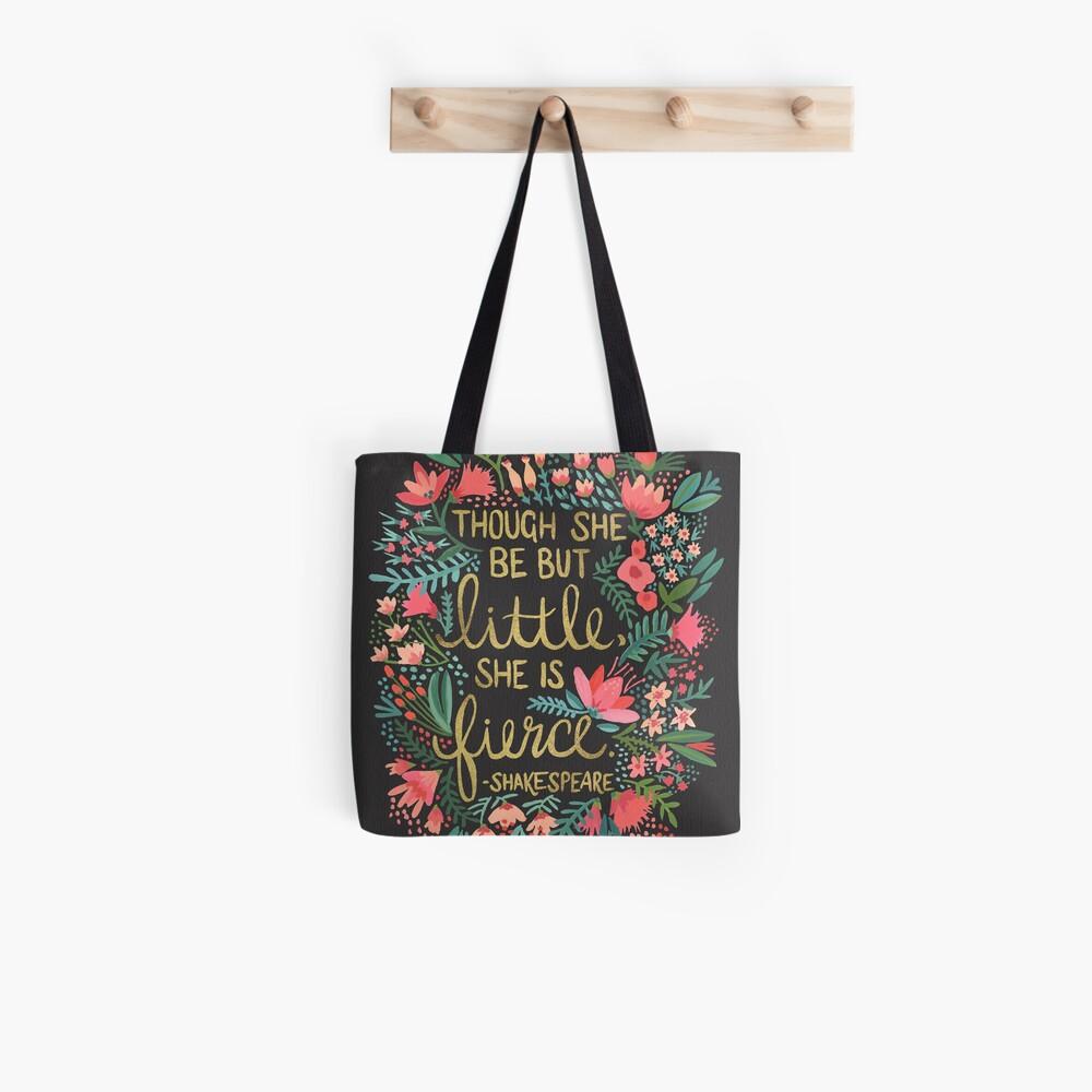 Little & Fierce on Charcoal Tote Bag