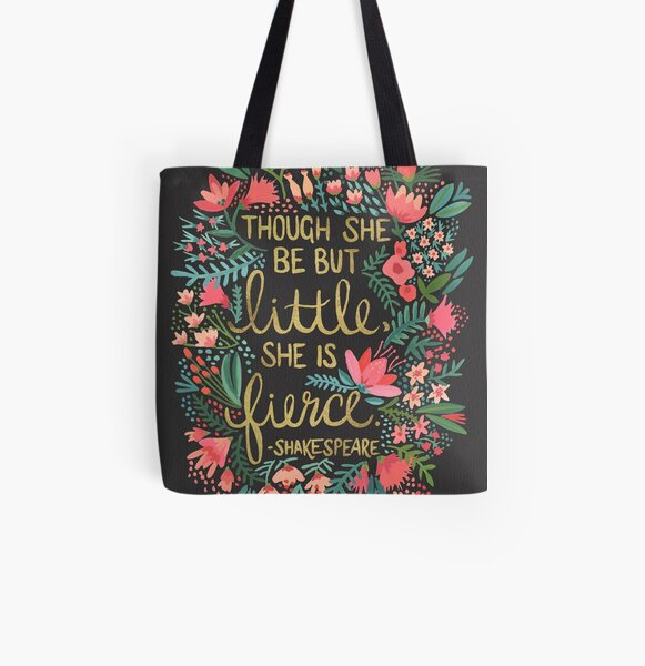 Little & Fierce on Charcoal All Over Print Tote Bag