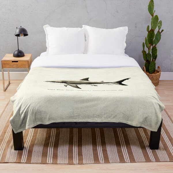 Carcharodon carcharias by Amber Marine, great white shark illustration, art © 2015 Throw Blanket