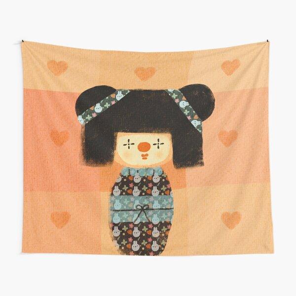 Kokeshi doll clown Tapestry