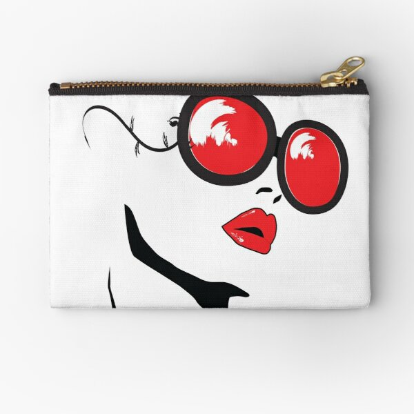beauty woman red red lipstick and red glasses Zipper Pouch