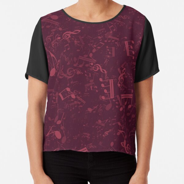 Burgundy Wine Colored Music Notes Pattern Chiffon Top
