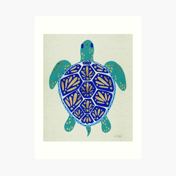 Sea Turtle – Navy & Gold Art Print