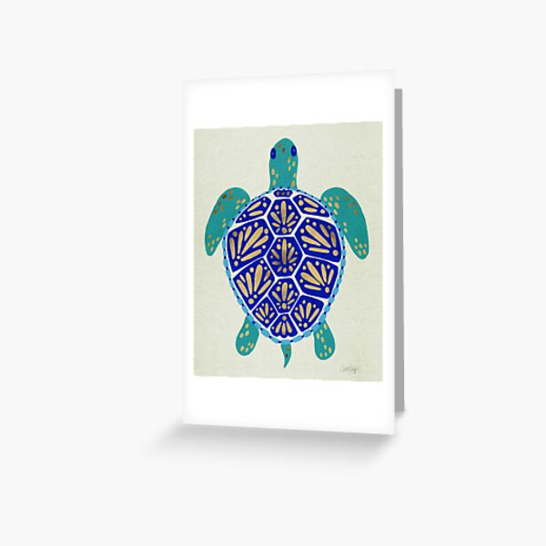 Sea Turtle – Navy & Gold Greeting Card
