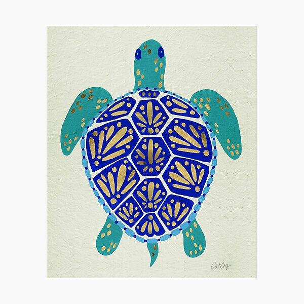 Sea Turtle – Navy & Gold Photographic Print