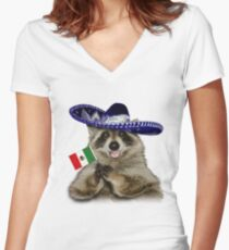 Mexican Raccoon Women's Fitted V-Neck T-Shirt
