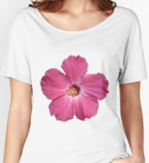 Pink Flower Print Women's Relaxed Fit T-Shirt