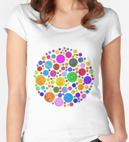 #DeepDream Color Circles Visual Areas 4x4K v1448872458 Fitted Scoop T-Shirt