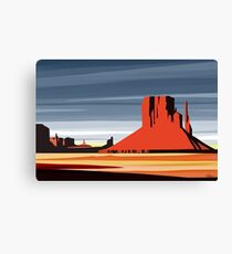 Arizona Desert Landscape Sunset Illustration Canvas Print