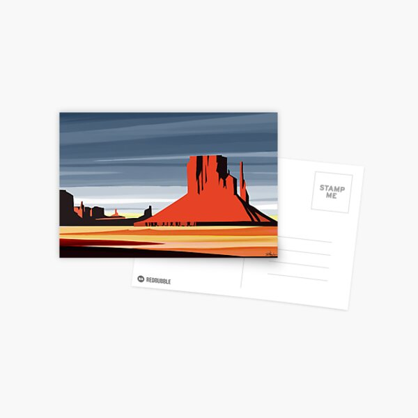 Arizona Desert Landscape Sunset Illustration Postcard
