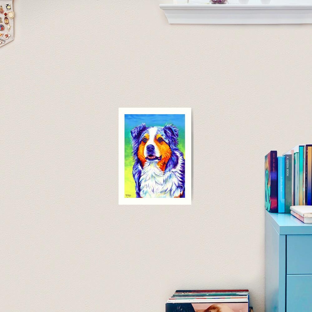 Alert Aussie - Blue Merle Australian Shepherd Dog Art Print