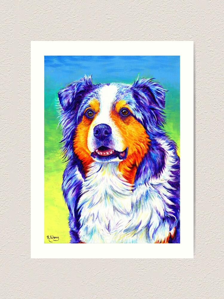 Alternate view of Alert Aussie - Blue Merle Australian Shepherd Dog Art Print