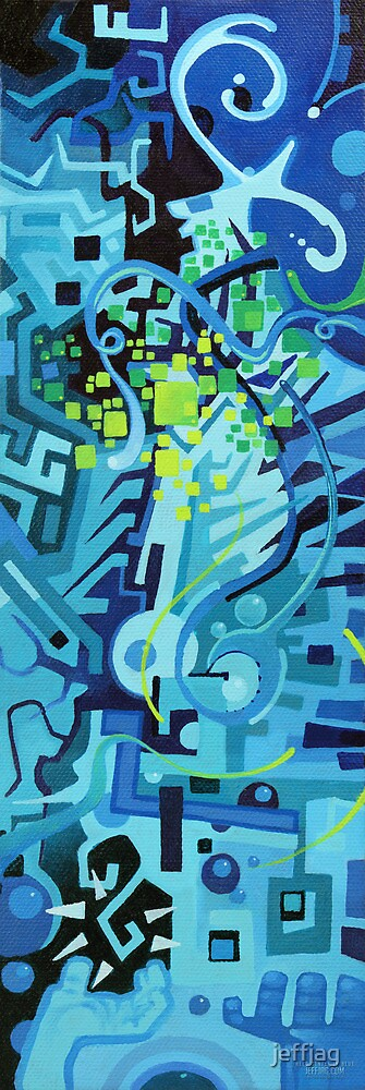 Held Gently in Blue - Abstract Acrylic Canvas Painting by jeffjag