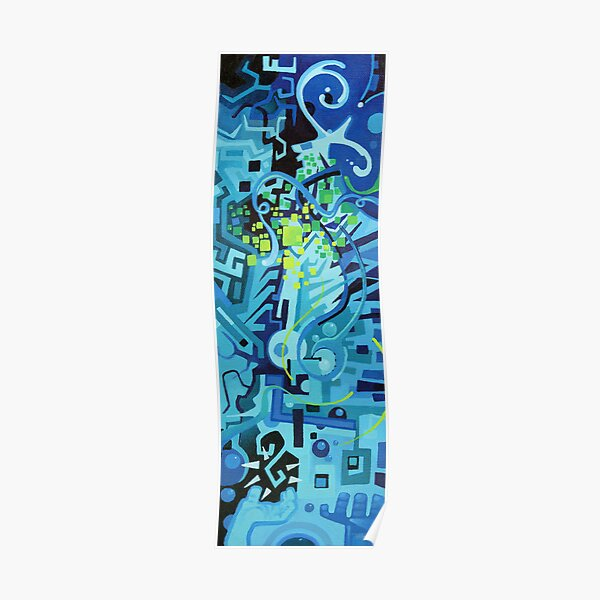 Held Gently in Blue - Abstract Acrylic Canvas Painting Poster