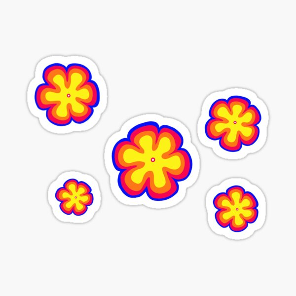 70's style flowers Sticker