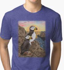 Puffins on Sunset Cliff Tri-blend T-Shirt