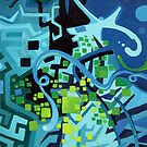 Held Gently in Blue - Abstract Acrylic Canvas Painting - TOP by jeffjag