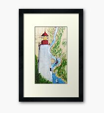 Sandy Hook Lighthouse NJ Nautical Chart Map Cathy Peek Framed Print