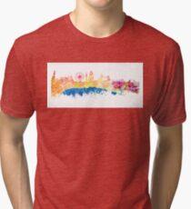 London skyline map city London Eye Tri-blend T-Shirt
