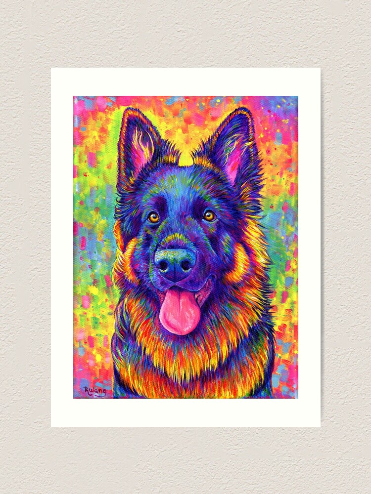 Alternate view of Luminescent - Psychedelic German Shepherd Dog Art Print