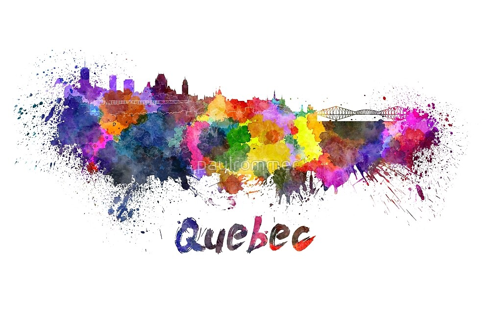 Quebec skyline in watercolor by paulrommer