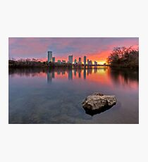 Austin Skyline in December from Ladybird Lake Photographic Print