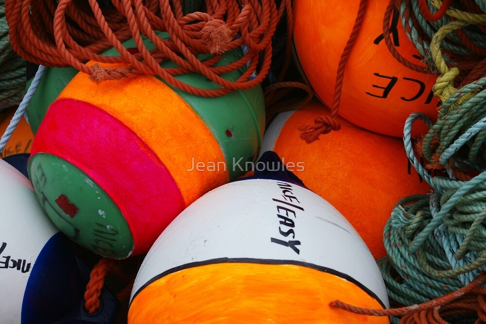 Bright buoys, Clark's Harbour by Jean Knowles