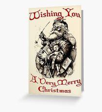 Vintage Santa Wishing You A Very Merry Christmas Greeting Card