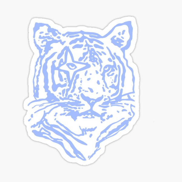 blue tiger outline Sticker
