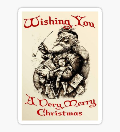 Vintage Santa Wishing You A Very Merry Christmas Sticker