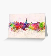 Reykjavik skyline in watercolor background Greeting Card